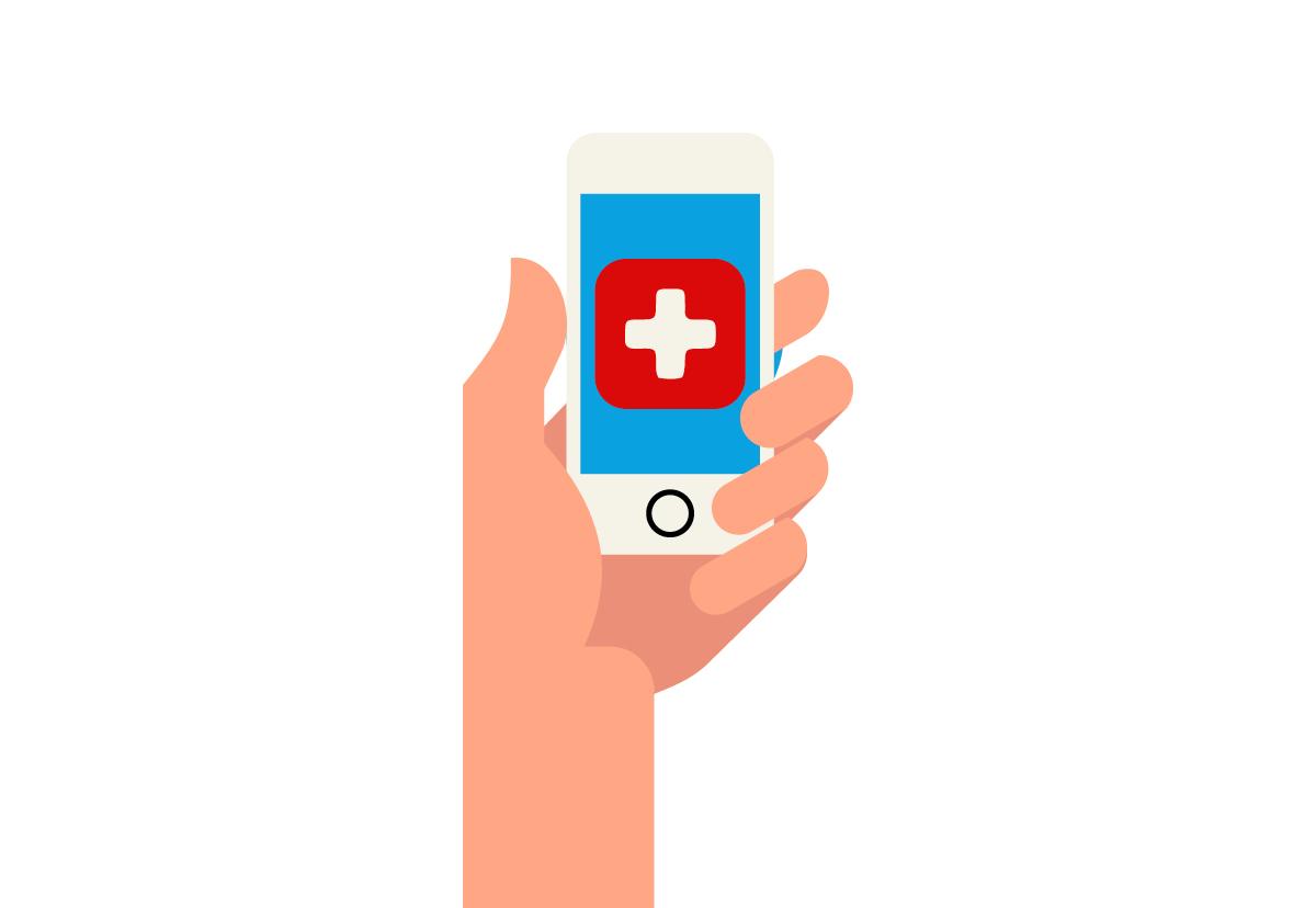 Hand hällt Handy mit App